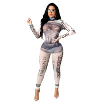 Sexy Long Sleeve Dollar Printed Mesh Jumpsuit