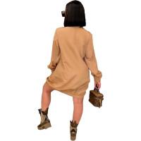 Solid Color Zipper High Collar Coat Dress with Pocket