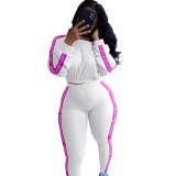 Casual Ribbed Letters Sports Pant Set