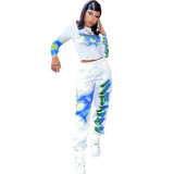 Casual Print Sports Sweatshirt Two Piece Outfits