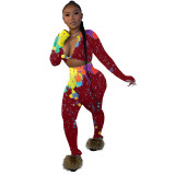 Women Colorful Ink-splash Print Crop Top Two Piece Outfits
