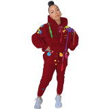 Solid Color Printed Hoodie Splash Ink Two Piece Outfits