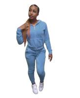 Solid Color Velvet Hooded Zipper Pant Set