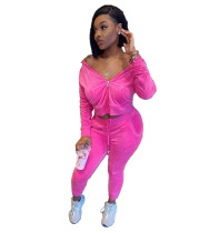 Solid Color Velvet Hooded Zipper Pant Set