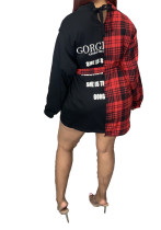 Contrasting Plaid Stitching Irregular Shirt Dress