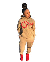 Casual Letter Print Drawstring Hooded Sweatshirt Set with Pockets