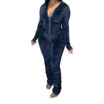 Winter Zipper Velvet Stacked Jumpsuit
