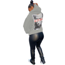 Casual Printed Pullover Round Neck Hooded Sweatshirt