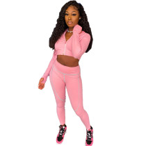 Solid Color Zipper Crop Top and Trousers