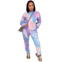 Casual Tie-dye Printed Hoodie Sweatshirt Pant Set