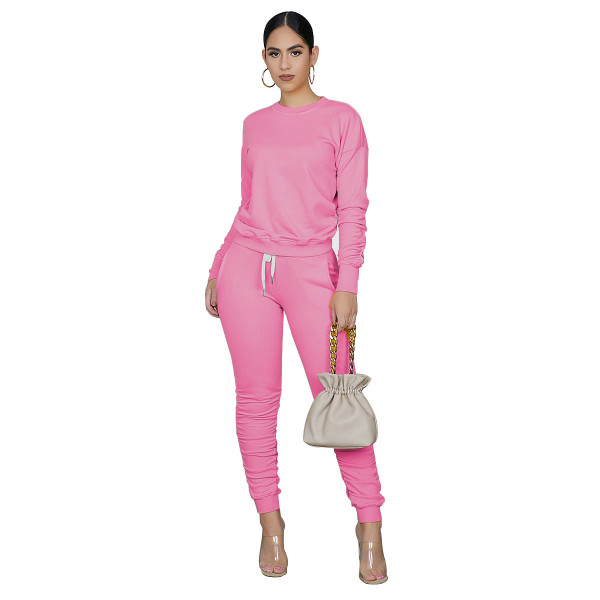 Solid Color Sweatpants Two Piece Set with Pockets