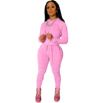Casual Sports Hooded Sweatwear and Pleated Pants