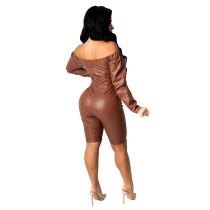 Casual Zipper Off Shoulder PU Leather Jumpsuit