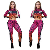 Casual Print High Neck Sports Two Piece Set
