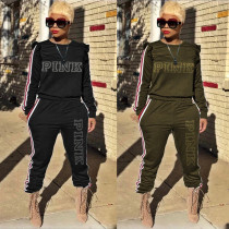 Casual Embroidery Letter Sports Two Piece Outfits