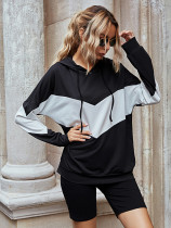 Casual Hooded Stitching Loose Sweatshirt and Yoga Pants