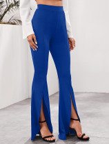 Solid Color High Waist Split Flared Trousers