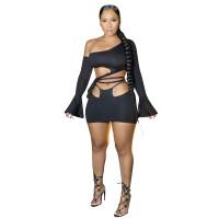 Sexy Slanted Shoulder Flared Sleeve Lace-up Skirt Set