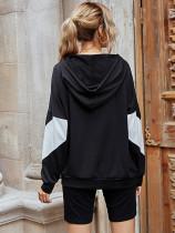 Casual Hooded Stitching Loose Sweatshirt and Yoga Pants