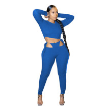 Solid Color Round Neck Crop Top and Bandage Pants