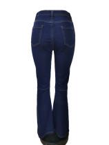 Stitching Fringed Flares Jeans
