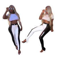 Casual Stitching Leather Pants