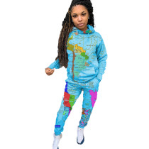Casual Print Map Drawstring Hooded Sports Two Piece Outfits with Pocket