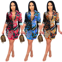 Casual Printed Irregular Shirt Dress