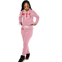Casual Offset Letter Hooded Sweatshirt Pant Set
