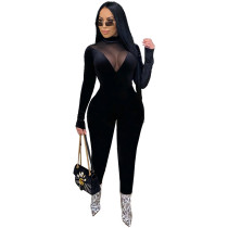 Casual Velvet Stitching Mesh Jumpsuit with Invisible Zipper