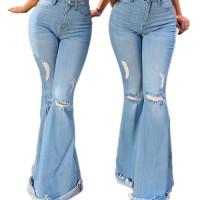 Frayed Flared Wide-leg Denim Trousers