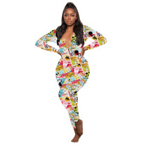 Casual Pattern Printed V Neck Home Jumpsuit