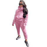 Solid Color Hooded Sports Two Piece Outfits