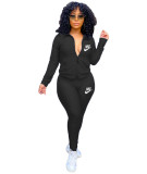 Solid Color Embroidered Sports Yoga Two Piece Outfits