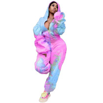Casual Tie-dye Printed Hooded Sports Two Piece Outfits