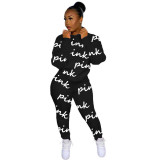 Casual High Neck Printed Letters Sweatshirt Pant Set