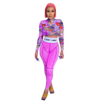 Casual Print Crop Top and Pant Set