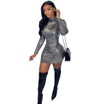 Sexy Bronzing Backless Mini Dress