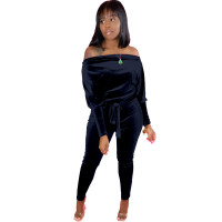 Solid Color Off Shoulder Velvet Jumpsuit with Belt