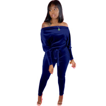 Solid Color Off Shoulder Velvet Jumpsuit with Belt