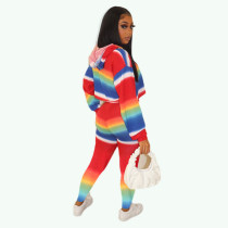 Casual Rainbow Stripped Print Hooded 2 Pcs Set
