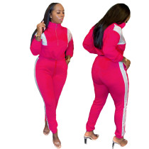 Casual Color Contrast Stitching Two Piece Outfits with Drawstring
