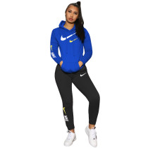 Casual Air Layer Colorblock Embroidery Hooded Pant Set