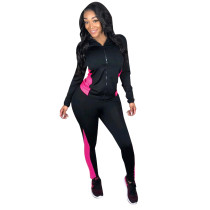 Casual Stitching Hooded Sports Two Piece Set
