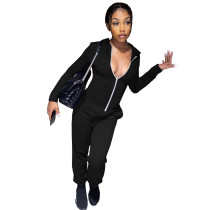Solid Color Zipper Hooded Irregular Sports Blouse and Two-Piece Outfits