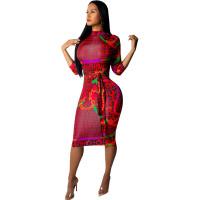Casual Zipper 3/4 Sleeve Printed Midi Dress with Belt
