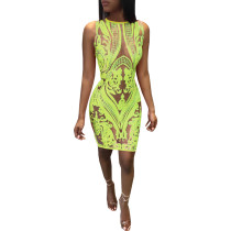 Sequin Embroidery Sleeveless Party Sexy Nightclub Dress