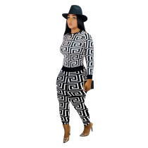 Printed Round Neck Sports Two Piece Outfits