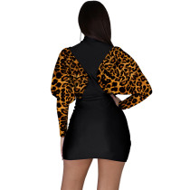 Leopard Print Bat Sleeve Mini Dress