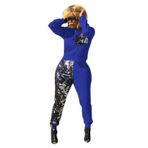 Casual Sequin Round Neck Sports Nightclub Pant Set with Pockets